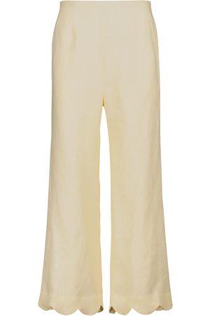 Lisa Marie Fernandez Linen high-rise straight pants