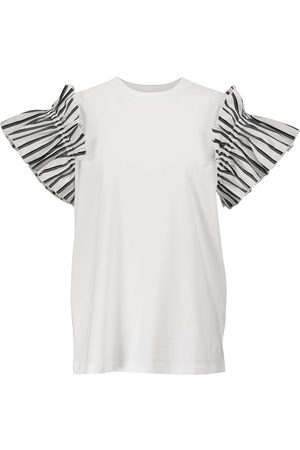 Victoria Victoria Beckham Ruffle-trimmed cotton T-shirt