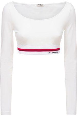 Miu Miu Logo Cotton Blend Jersey Crop Top