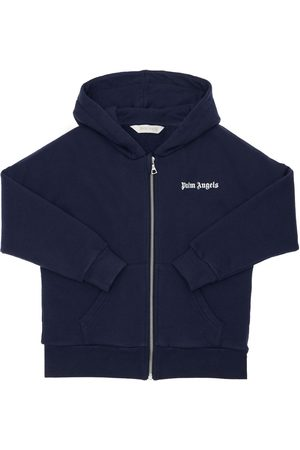 Palm Angels Girls Sweatshirts - Printed Zip-up Cotton Hoodie