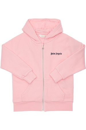 Palm Angels Zip-up Cotton Sweatshirt Hoodie