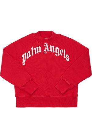 Palm Angels Logo Print Cotton Sweatshirt