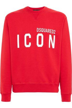 Dsquared2 Men Sweatshirts - Logo Print Cotton Jersey Sweatshirt