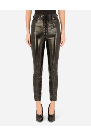 Dolce & Gabbana Women Trousers - Trousers and Shorts - Coated cotton jeans with laces and eyelets female 40