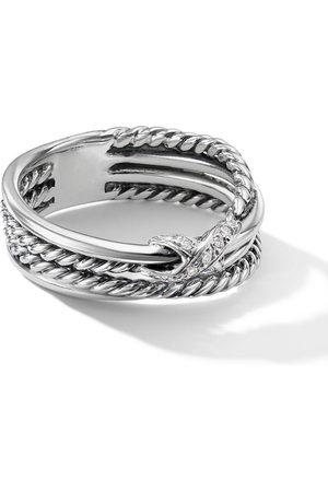 David Yurman Sterling crossover X pavé diamond ring