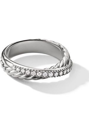 David Yurman Sterling Crossover pavé diamond ring