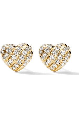 David Yurman 18kt yellow Heart diamond stud earrings