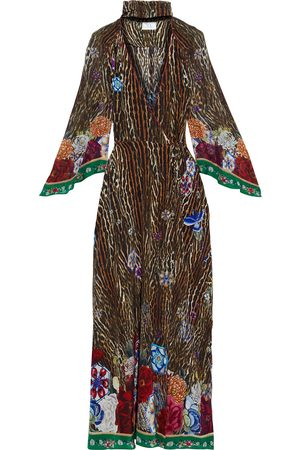 CAMILLA Woman Tie-neck Chiffon-paneled Printed Silk Crepe De Chine Maxi Wrap Dress Animal Print Size M