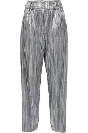 BALMAIN Woman Plissé-lamé Wide-leg Pants Size 36