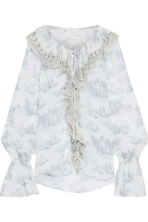 CAMILLA Women Blouses - Woman Lace-up Crystal-embellished Ruffled Printed Silk-georgette Blouse Sky Size L