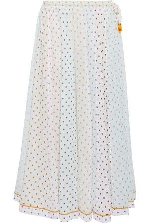 ZIMMERMANN Woman Bellitude Tasseled Paneled Polka-dot Cotton-voile Midi Skirt Size 0