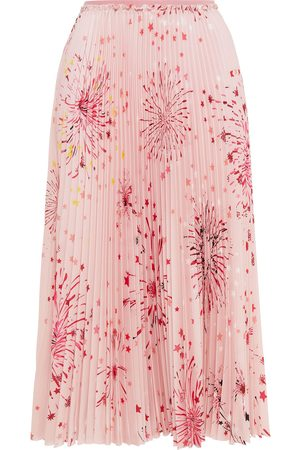 RED Valentino Woman Pleated Printed Crepe De Chine Midi Skirt Pastel Size 36