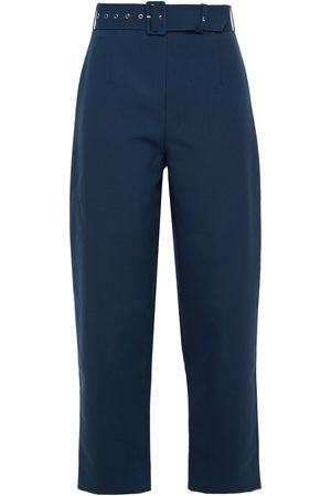 Solace Woman Tansy Cropped Belted Crepe Straight-leg Pants Petrol Size 6