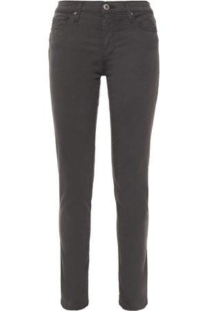 AG Jeans Woman Cotton-blend Sateen Slim-leg Pants Dark Gray Size 23