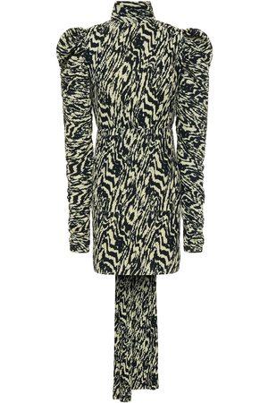 Solace Woman Gathered Printed Plissé-crepe Mini Dress Size 10