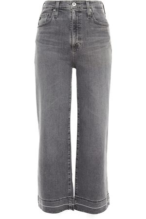 AG Jeans Woman Cropped High-rise Wide-leg Jeans Gray Size 23