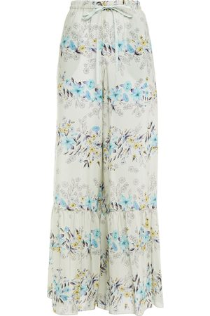 RED Valentino Woman Gathered Printed Silk Wide-leg Pants Sky Size 40