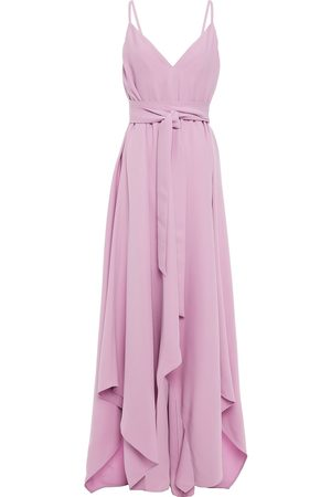 VALENTINO Woman Asymmetric Belted Silk-crepe Gown Lilac Size 0