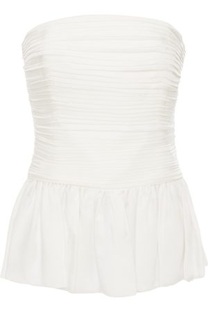ALEXANDRE VAUTHIER Woman Strapless Pleated Silk-satin Top Off- Size 38