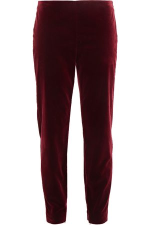 RED Valentino Woman Cotton-blend Velvet Slim-leg Pants Merlot Size 40