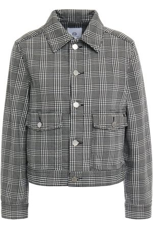 AG JEANS Woman Prince Of Wales Checked Denim Jacket Size L