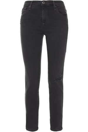 AG Jeans Woman Distressed Mid-rise Skinny Jeans Charcoal Size 23