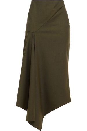 ALEXANDRE VAUTHIER Woman Pleated Stretch-wool Twill Midi Skirt Army Size 38