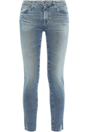 AG Jeans Woman Cropped Distressed Mid-rise Skinny Jeans Mid Denim Size 23