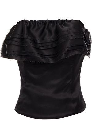ALEXANDRE VAUTHIER Woman Strapless Ruffled Silk-satin Top Size 38