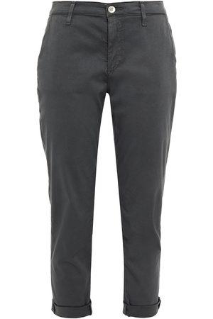 AG Jeans Woman Cropped Cotton-blend Twill Slim-leg Pants Dark Gray Size 23