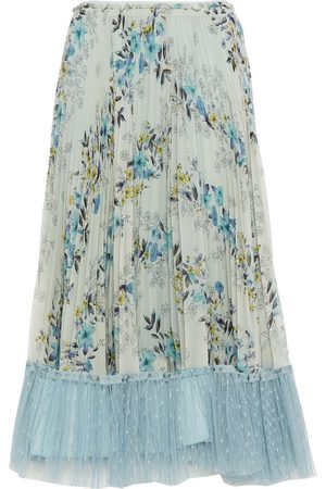 RED Valentino Woman Point D'esprit-trimmed Pleated Floral-print Georgette Midi Skirt Sage Size 38