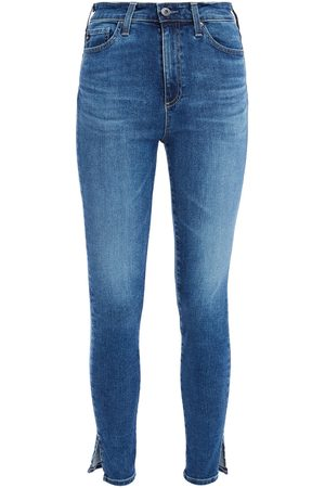AG Jeans Women Skinny - Woman Cropped Faded High-rise Skinny Jeans Mid Denim Size 23