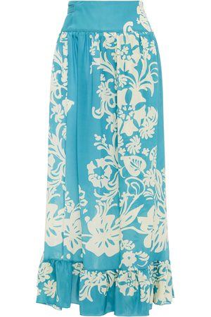 RED Valentino Women Midi Skirts - Woman Printed Silk Crepe De Chine Midi Wrap Skirt Turquoise Size 38