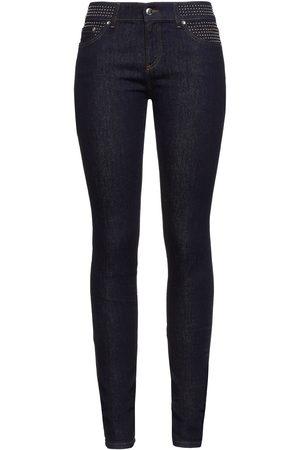 RED Valentino Women Skinny - Woman Studded Mid-rise Skinny Jeans Dark Denim Size 29