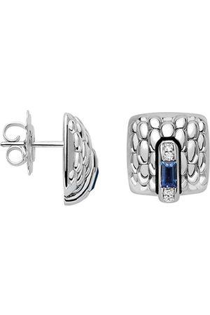 FOPE 18ct White Gold Vendome Sapphire & Diamond Earrings