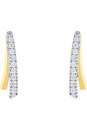 GOLDSMITHS 9ct Bi-Colour 0.10ct Diamond Ribbon Stud Earrings