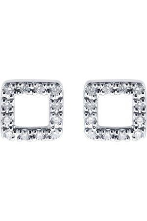 GOLDSMITHS Women Earrings - 9ct White Gold 0.10ct Diamond Square Open Stud Earrings