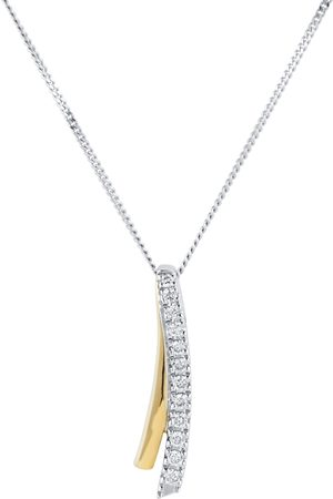GOLDSMITHS 9ct Bi-Colour 0.07ct Diamond Ribbon Pendant