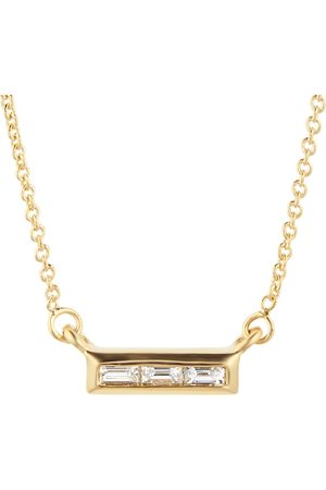 GOLDSMITHS Women Necklaces - Yellow Gold Plated Silver Diamond 0.08ct Baguette Bar Necklace