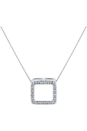 GOLDSMITHS Women Necklaces - 9ct White Gold 0.10ct Diamond Square Open Pendant
