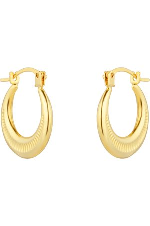 GOLDSMITHS 9ct Yellow Gold Patterned Creole Huggie Earrings