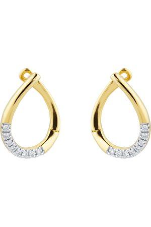GOLDSMITHS Women Earrings - 9ct Yellow Gold 0.10ct Diamond Tear Drop Hoop Earrings