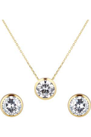 GOLDSMITHS 9ct Yellow Gold Besel Set Pendant & Earrings Set