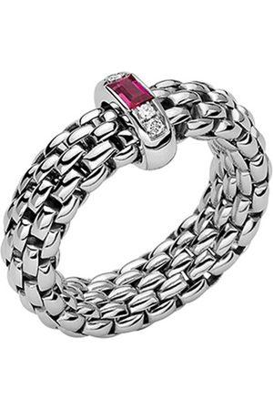 FOPE 18ct White Gold Vendome Flex'it Ruby & Diamond Medium Ring