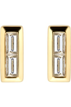 GOLDSMITHS Yellow Gold Plated Silver Diamond 0.09ct Baguette Bar Stud