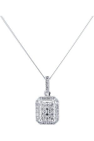 GOLDSMITHS 9ct White Gold 0.25cttw Diamond Emerald Shape Cluster Pendant