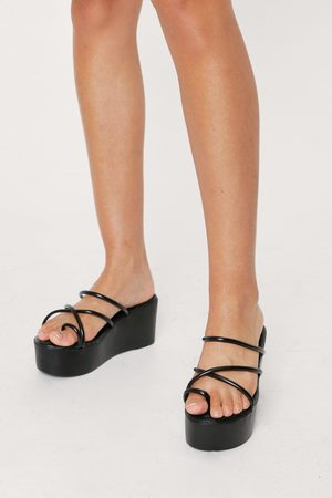 NASTY GAL Womens Faux Leather Strappy Toe Loop Wedges