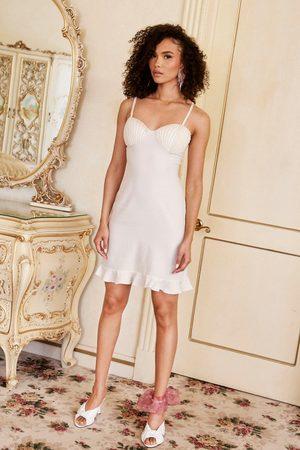NASTY GAL Womens Pearl Inspired Bustier Satin Mini Dress