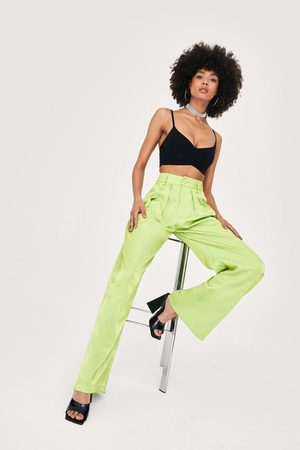 NASTY GAL Womens Satin Shimmer Pleat Detail Wide Leg trousers