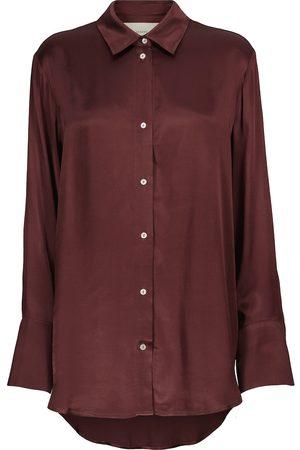 ASCENO Women T-shirts - Milan oversized bamboo satin shirt
